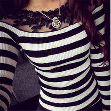 Striped Sweater Women Fashion 2016 Spring Fall Pullover Full Sleeve Bottoming Shirt Lace Stitching Casual Floral Knitted 2 Color(China (Mainland))