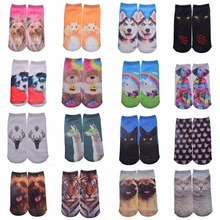 New 3D Printed Cotton Skeleton socks Bone short Women socks Terror novelty socks Animal cat Cute funny Low Cut Ankle Socks men(China (Mainland))