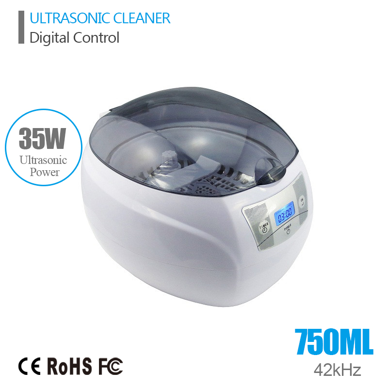 Digital Ultrasonic Cleaner Bath 0.75L Tank Baskets Jewelry Watches Injector Dental CD PCB 35W 42kHz Mini Ultrasonic Cleaner Bath(China (Mainland))