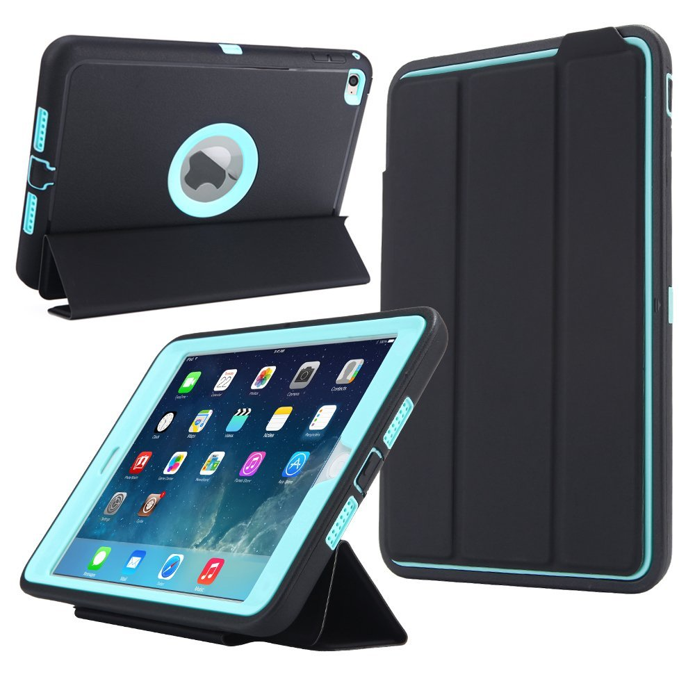 for ipad mini 4 retina kids safe armor shockproof heavy duty silicone hard case cover w screen. Black Bedroom Furniture Sets. Home Design Ideas