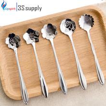 5Pcs Tableware Flower Shape Sugar Stainless Steel Silver Tea Coffee Spoon Teaspoons Ice Cream Flatware Kitchen Tool Best Price(China (Mainland))