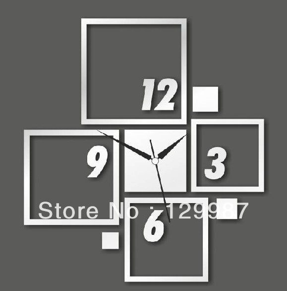 2014 Hot selling DIY acrylic square and firgure wall clock home decoration, 3D acrylic mirror sticker(China (Mainland))