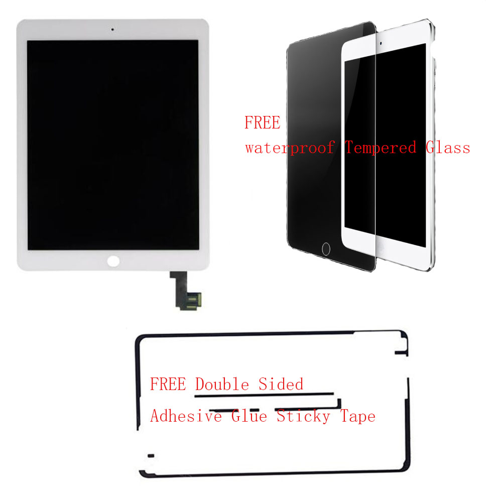 For iPad Air 2 2nd Gen A1566 A1567 lcd screen display with digitizer touch screen assembly Original /white free back glue& glass(China (Mainland))