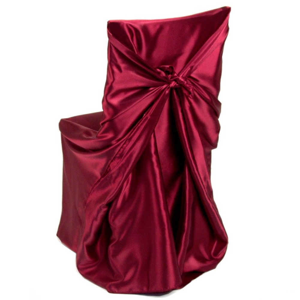 2015 Party Wedding Polyester Satin Universal Banquet Folding Chair Cover Burgundy, 100 Count Box(China (Mainland))