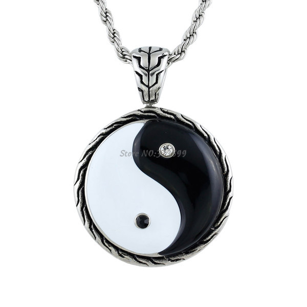 Chinese Style Tai Chi Cord Pendant Retro Time Rhinestone Totem Necklace Fashion Brand Yin Yang Necklaces Pendants Men Jewelry - Fame (China store Fashion)
