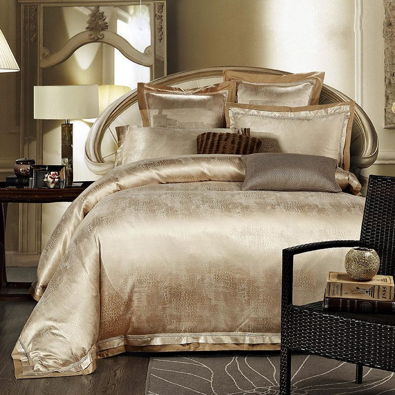 White And Gold Bedroom Set : Gold/White/Blue Jacquard Silk Bedding Set Luxury 4pcs Satin Bed Set ...