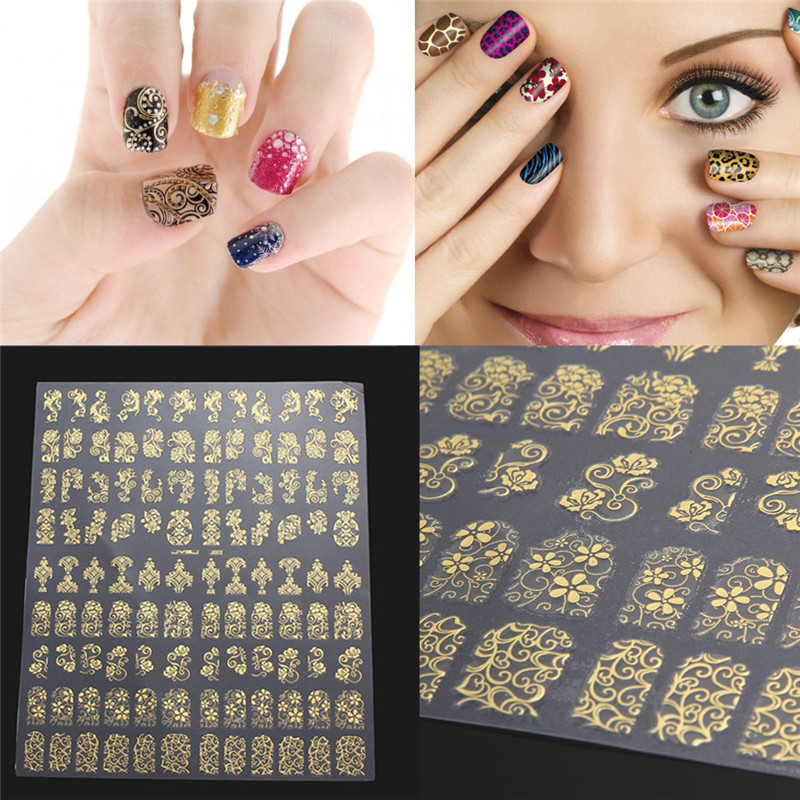 108PCS 3D Flower Design Nail Art Stickers Nail Tips Decals DIY Manicure Decoration Free Shipping(China (Mainland))