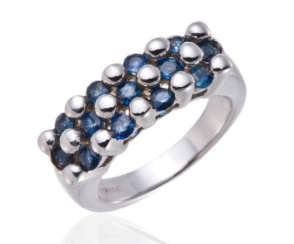Hutang Jewelry Natural Blue Sapphire Solid 925 Sterling Silver Cluster Ring For Fine Jewelry Chrismas Gift<br><br>Aliexpress