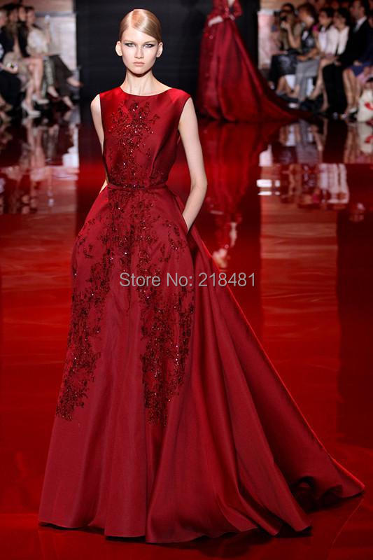 Fashion A-line Sleeveless Red Sequins Beading Backless Floor Length Celebrity Dresses Evening Prom 2015 - Amy Boutique store