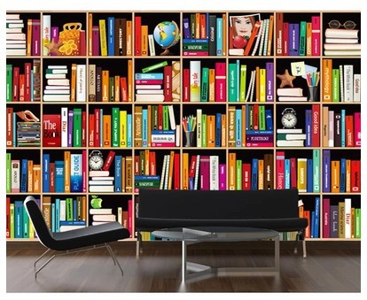 mural bookshelf wallpaper - photo #22