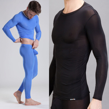 1 Set 2015 winter Men's Thermal Underwear sexy transparent ice silk Long Johns Men Soft Sleepwear Warm Trousers Pants (China (Mainland))