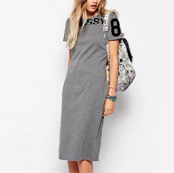 Платье короткая, qz1869 женская элегантный письма принт серый спорт винтажный с круглым ...