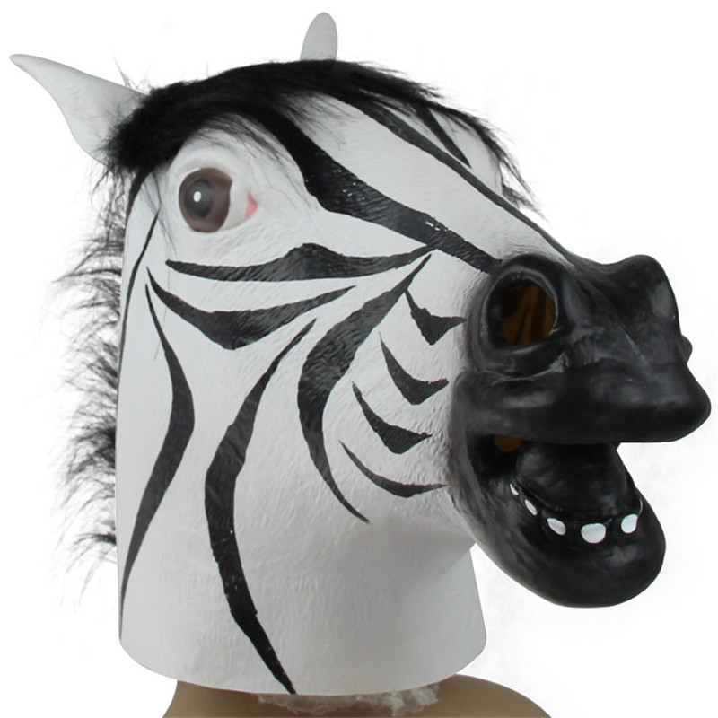 Fun Halloween Zebra Mask Mask Realistic Latex Horse Head Interesting Party Masquerade Masks Silicone VDZ60 T20 0.5(China (Mainland))