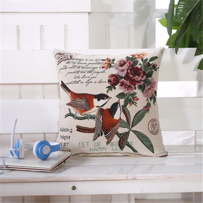 Vintage Retro Embroidery Flower Bird Fish Sailing Car Decorative Throw Pillowcase Pillow Case Cushion Cover Sofa