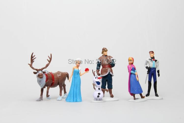 Anime Princess Elsa Anna Doll Hans Kristoff Sven Olaf PVC Action Figures Kids Model Toys 6 pcs/set 4-11cm(China (Mainland))