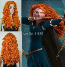 Top Quality MERIDA BRAVE Movie Disguise 26″ Long Orange Curl Hair Cosplay Wig free shipping