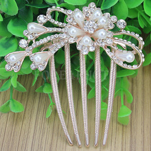 Exquisite Women's Plastic Pearl 5 Tooth Flower Hair Comb Crystal Rhinestone(China (Mainland))