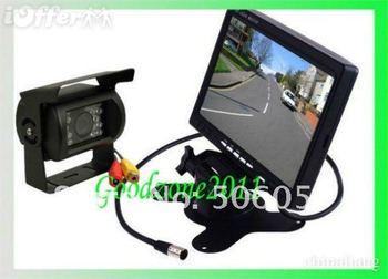 """Free shipping DHL 20 PCS NEW 7"""" LCD Monitor+18 IR Reverse Camera Car Rear View Kit car camera free 10m cable"""