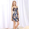 SSH083 Sexy Women Nightwear Printed Mini Night Gowns Deep V Straps Skirts Summer Style Satin Silk