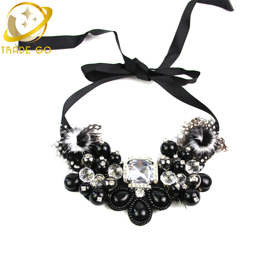 Hot 2015 New Arrival Women Noble Crystal Cluster Fashion Necklace Unique Charm Water Drop Beads Statement Necklace & Pendants(China (Mainland))