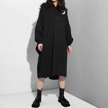 [EAM] 2019 新秋冬ラペル長袖黒レタープリントスプリットジョイントビッグサイズドレス女性のファッション潮 F955(China)