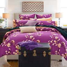 100% cotton bedding sets 4pcs queen king duvet cover set beautiful bedding quality for girls adult rose tree orange purple #2(China)