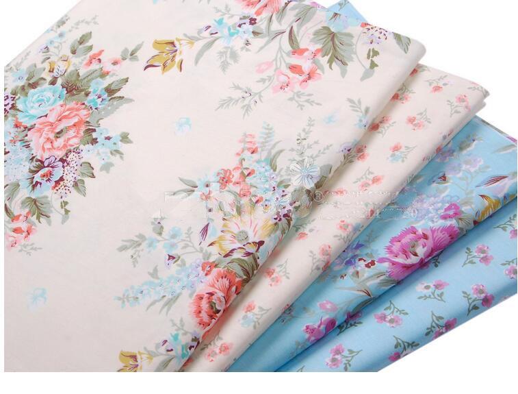 2016 new arrival 2piece 40 50cm lot cotton fabric printing flowers patchwork - Lot de tissu patchwork ...