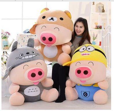 Grande 95 cm dos desenhos animados Mcdull porco brinquedo de pelúcia virou-se para ter relaxado, Minion, Totoro lance suave travesseiro de presente de aniversário de brinquedo a1348(China (Mainland))