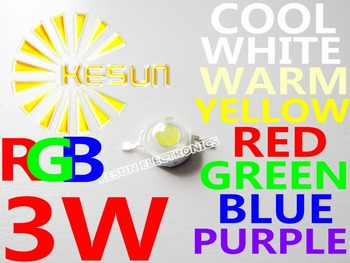 100PCS/LOT High Power EPILEDS Chip 3W RGB Purple Red Green Blue Yellow LED Bulb 3W 180-200LM 45MIL White led lamp