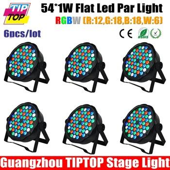 TIPTOP NEW 6pcs/lot Club Bar RGBW LED Stage Lighting DJ Home Party 80W show Professional Projector Light Disco 54pcs 1W Leds