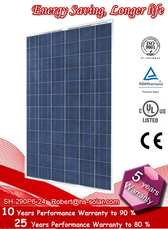 290W Polycrystalline Solar Panel, Solar module, high efficiency solar module, High Solar PV Module (CE & TUV Certificate)(China (Mainland))