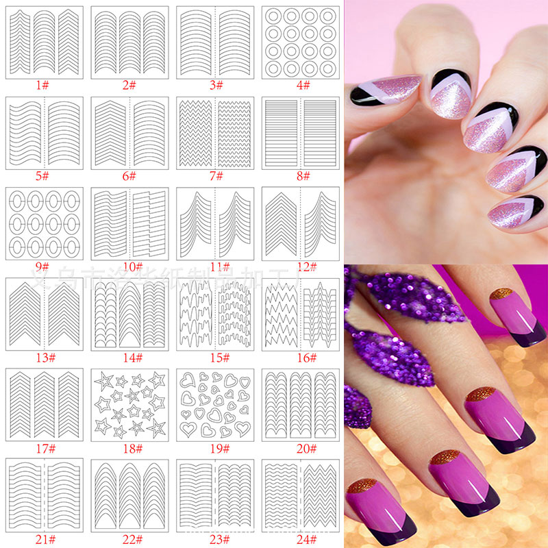 10 Packs/Lot French Stencil Manicure DIY Nail Art Form Fringe Tips Guides Stickers Stencil Strip Styling Beauty Tools Decoration(China (Mainland))