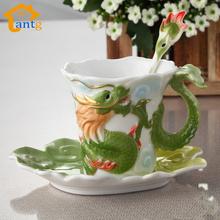Enamel Porcelain Coffee mugs Dragon and Phoenix cup tea set Bone China porcelain cup for birthday gift(China (Mainland))