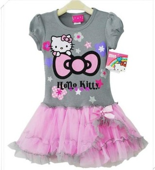 Free shipping!New Style baby girls lace dress Hello kitty bow lace dress for girl summer children princess dress Retail BBS031