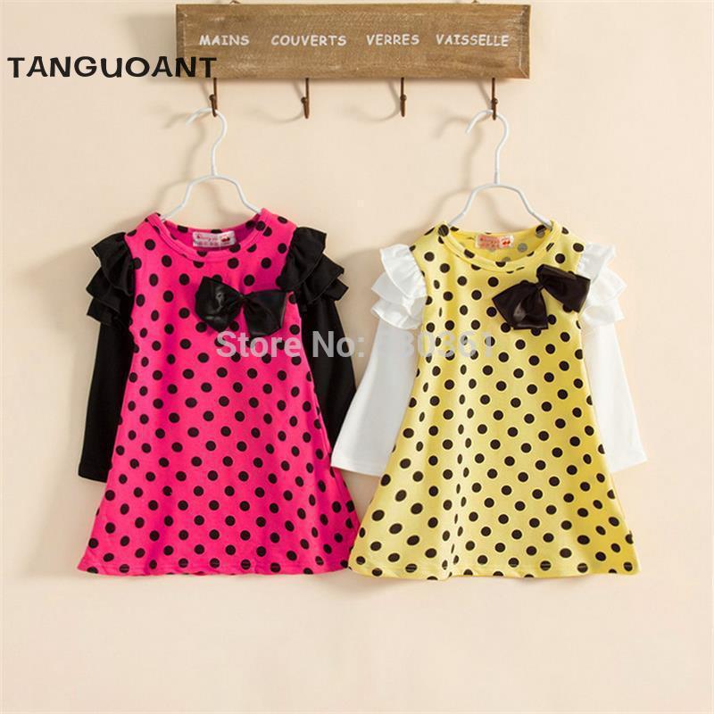New 2016 autumn /spring children clothing girls polka dot dress long-sleeve kids girls princess dress(China (Mainland))