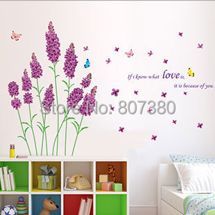 Home Decoration Lavender Flower Wall Stickers Removable Decal Houseware - Rose-Jewelry store