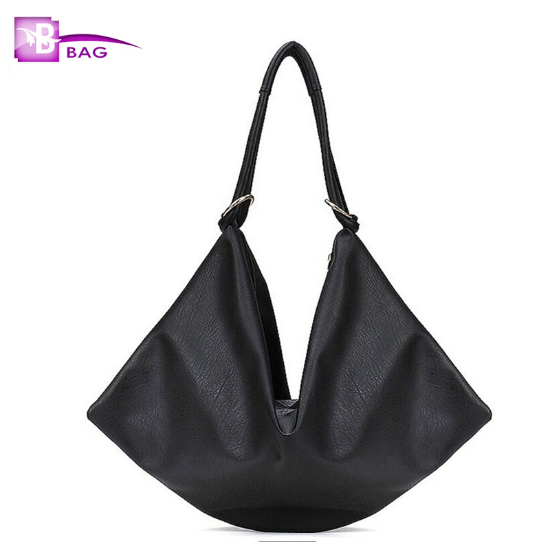 casual womens handbag women shoulder bag large capacity bag soft leather solid black color bag shopping bag free shipping<br><br>Aliexpress