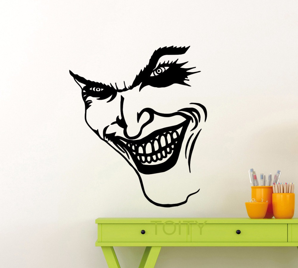 Joker smile wall sticker dc marvel comics superhero vinyl decal home interior decoration pop art mural