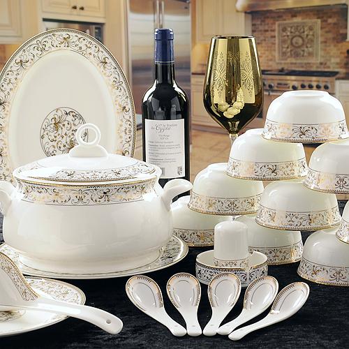 56 piece set royal gold ware designed fine bone china dinnerware sets chinese crockery set. Black Bedroom Furniture Sets. Home Design Ideas
