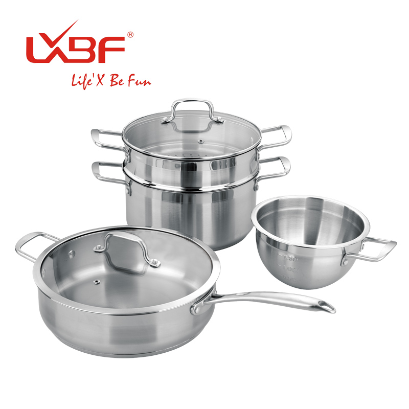 free shipping lxbf set stainless steel cookware pot set cooking pots and pans set