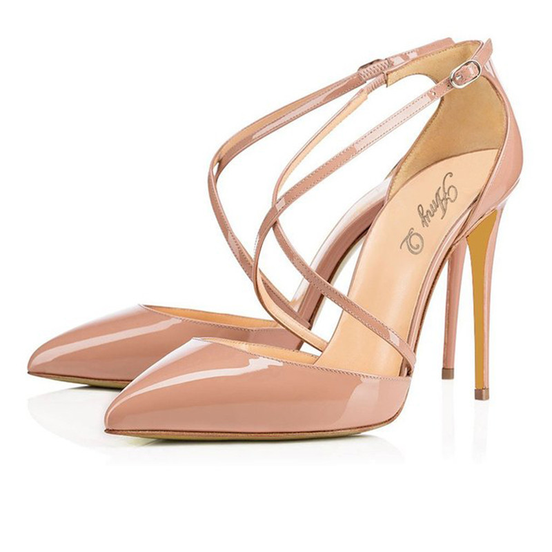 2016 Elegant Women Nude Patent Leather Cross Band Buckle Strap High Heel Pumps Wedding Party D Orasy Pointy Stilettos Plus Size