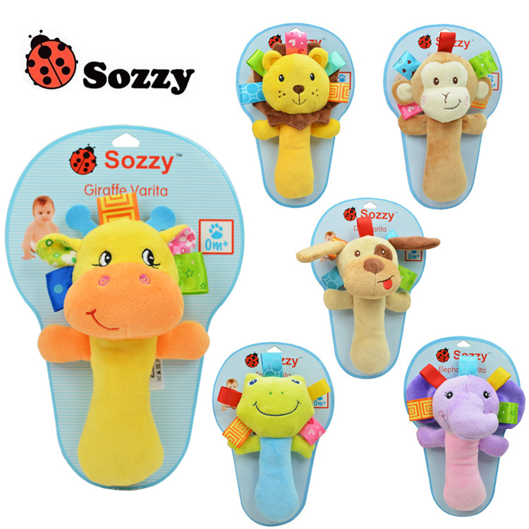Animal hand bell baby Rattles plush stuffed toy children mobiles sounding educational handbell Soft Stuffed Infant Baby Toys(China (Mainland))