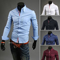 2016 new arrival mens dress shirts luxury brand fashion long sleeve stpried slim fit camiseta masculina