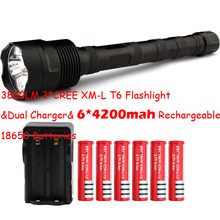 Big Discount! 3 * CREE XM-L T6 3T6 Flashlight 5 Mode 3800 Lumen XML T6 LED Flashlight + 6*18650 battery + Charger Free Shipping(China (Mainland))