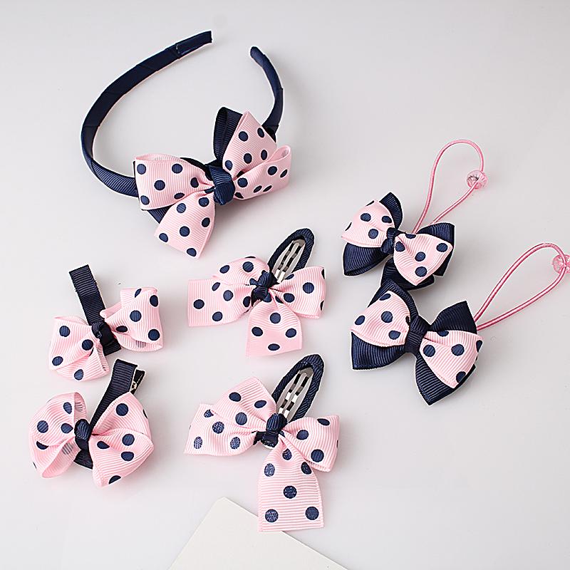 M MISM 1set=7pcs Headwear Set Children Accessories Printing Dot Bow Headband Hair clip Gum for Hair Hairband for Girls Headdress(China (Mainland))
