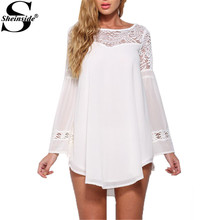 Sheinside Autumn Beautiful Ladies Tops Loose White Bell Long Sleeve Lace Insert Hollow Out Round Neck Chiffon Kawaii Blouse(China (Mainland))