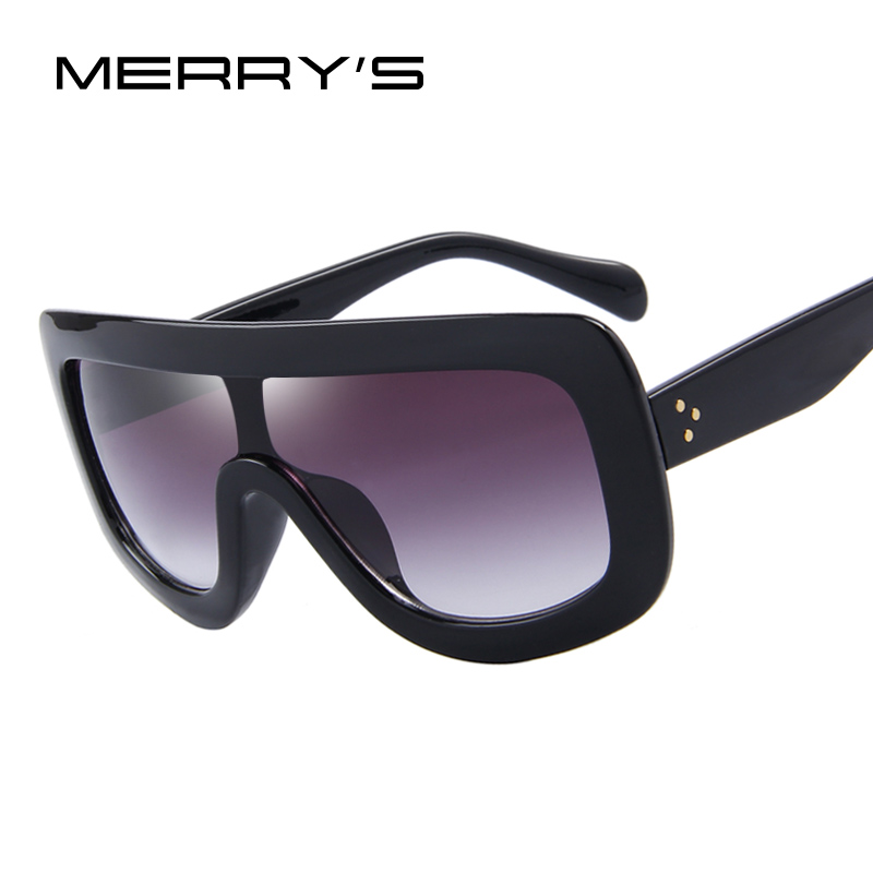 MERRY'S Fashion Women Sunglasses Square Glasses Vintage Big Frame Integrated Eyewear S'8017(China (Mainland))