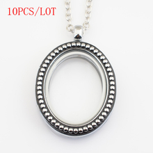 10PCS/LOT,Antique silver oval magnetic floating locket charms,with free 50-55cm chain FN0016(China (Mainland))