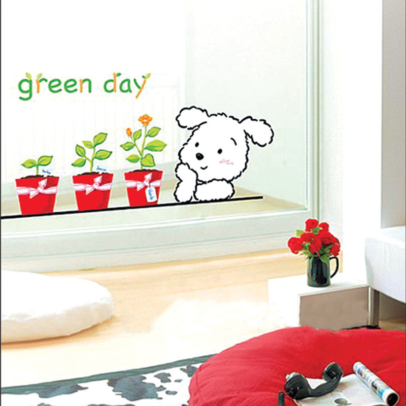 1pcs Cute Dogs Flower Pot Wall Decals Sticker Kids Bedroom French Window Living Room Poster Nursery House Decoration Accessories(China (Mainland))