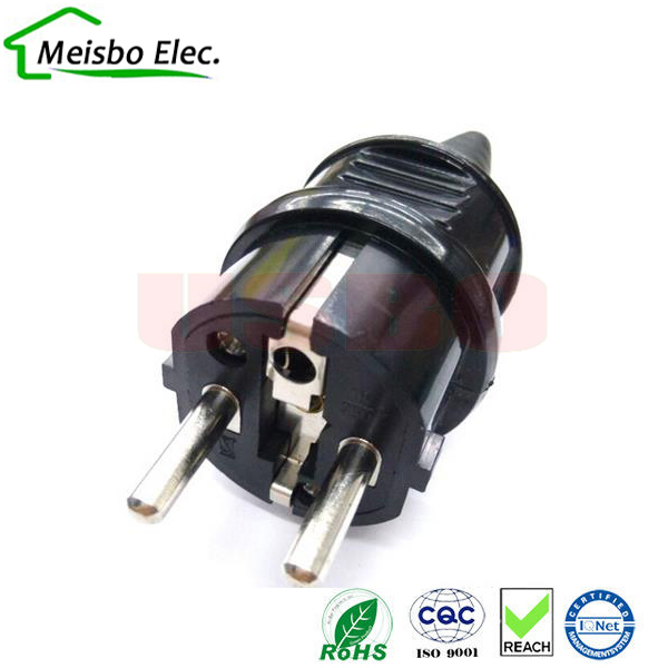 European 2p Elcectrical AC 250V 16A EU germany franch waterproof grounding Power cable plug france adaptor converter(China (Mainland))